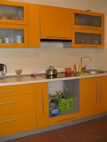 Стильная компактная кухня с вытяжным шкафом