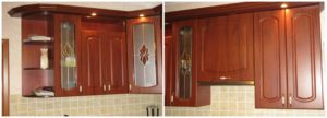 Шкафы в кухню навесные с элементами декора фото